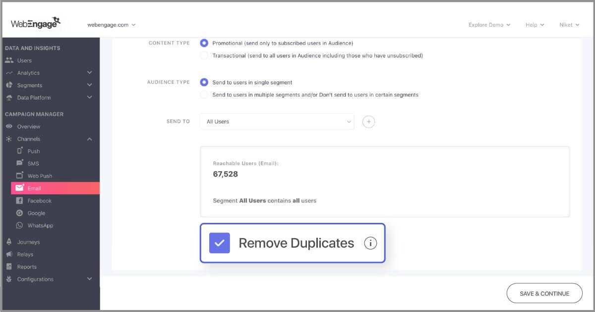 Removing duplicates while sending bulk campaigns